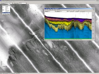 Side-scan sonar mosaic as an underlay to sub-bottom